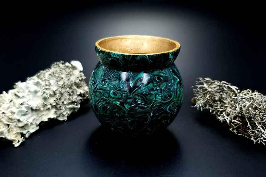 Faux Malachite Stone Vase 20191012_212212