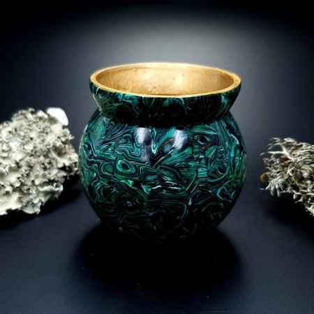 Faux Malachite Stone Vase