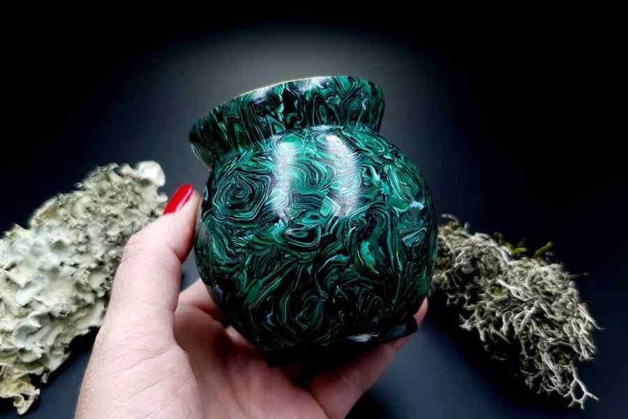 Faux Malachite Stone Vase 20191012_212338