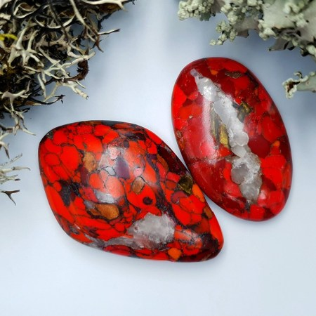 2 pcs Beads Faux Red Jasper from Polymer Clay (Set #3)