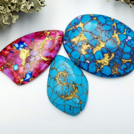 3 Cabochones Faux Turquoice from Polymer Clay #2