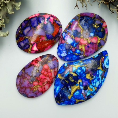 4 Cabochones Faux Turquoice from Polymer Clay #3
