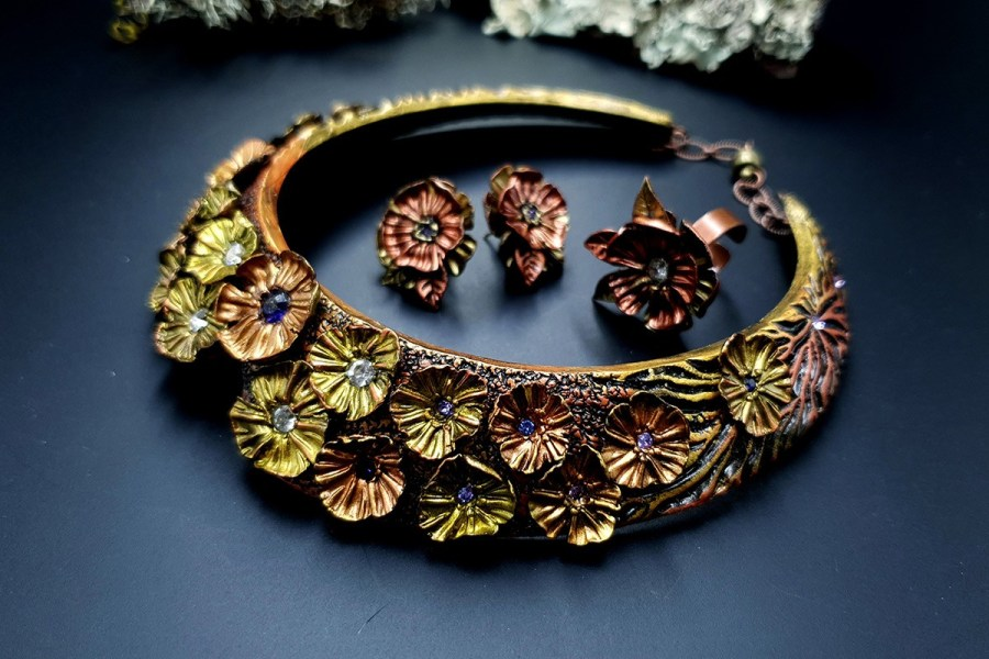 Flowers in Metal 2 Jewelry Set 20191011_135731