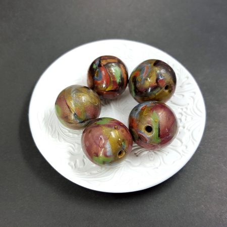 5 Jade Beads from Polymer Clay, Brown, Bronze, Green