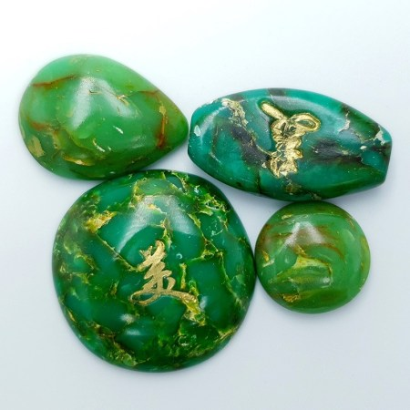 4 cabochons Faux Jade Stone from Polymer Clay