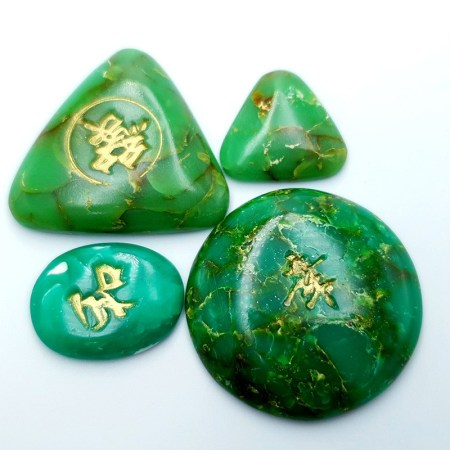 Set of 4 pcs cabochons Faux Jade Stone from Polymer Clay