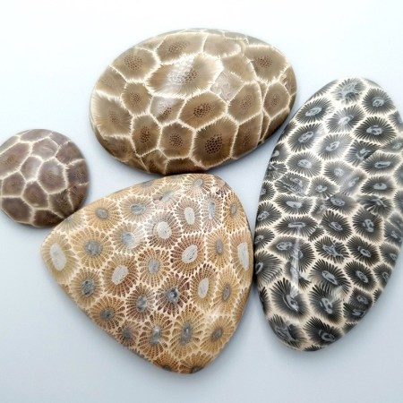 4 cabochons Faux Petoskey Stone from Polymer Clay