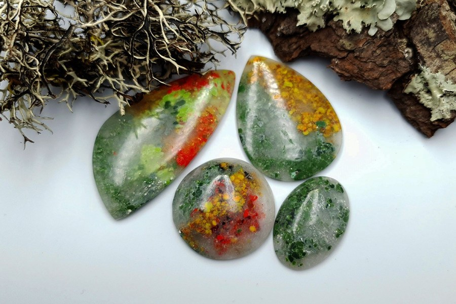 Polymer Clay Moss Agate Set 02 p09