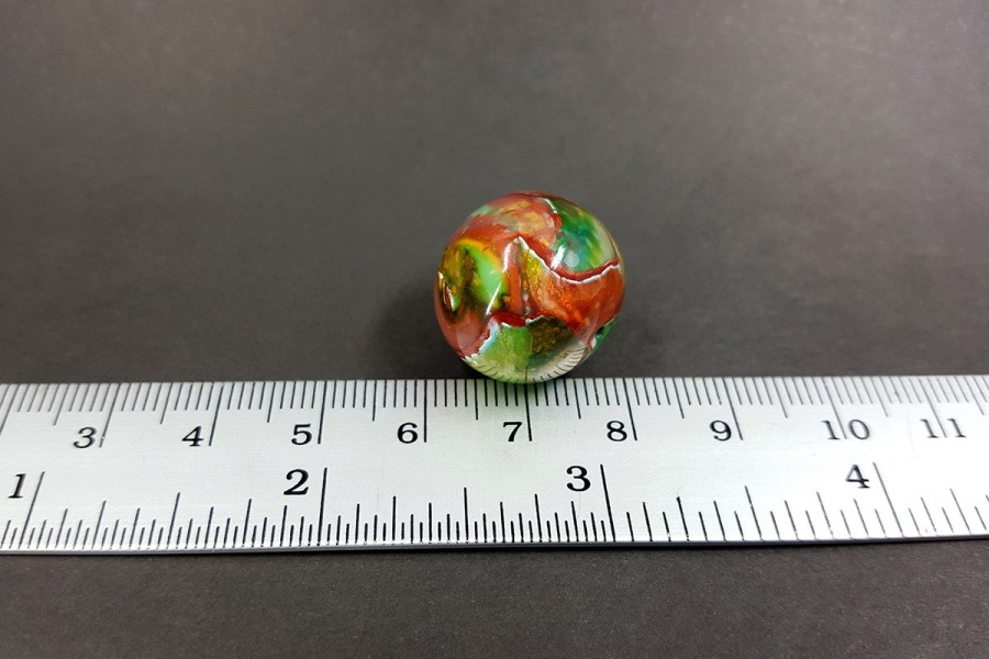 Shining Jade Bead from Polymer Clay - Green Brown Colors p05