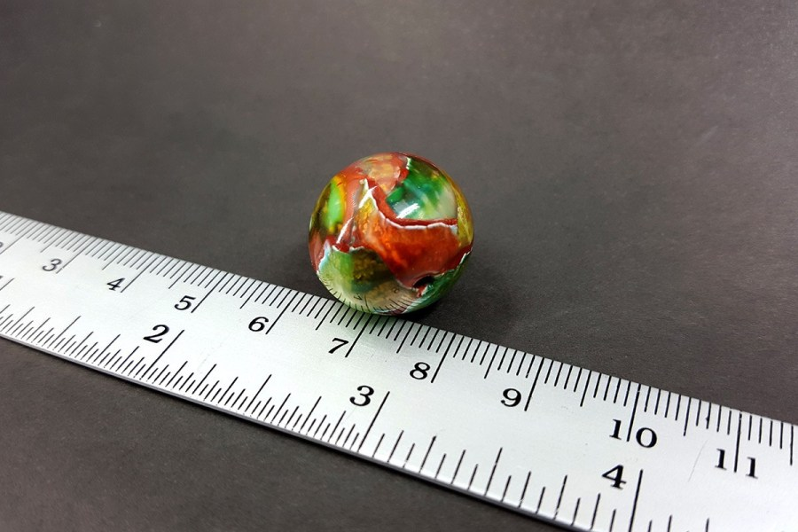 Shining Jade Bead from Polymer Clay - Green Brown Colors p06