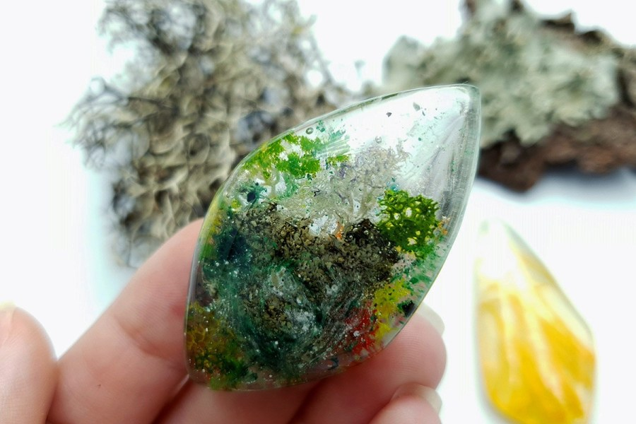 UV Resin Faux Moss Agate Faux Rutilated Quartz Set 02 p08