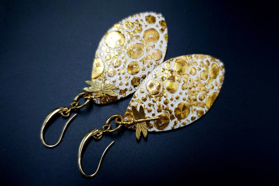 Earrings Golden Dragonfly and Sun 11