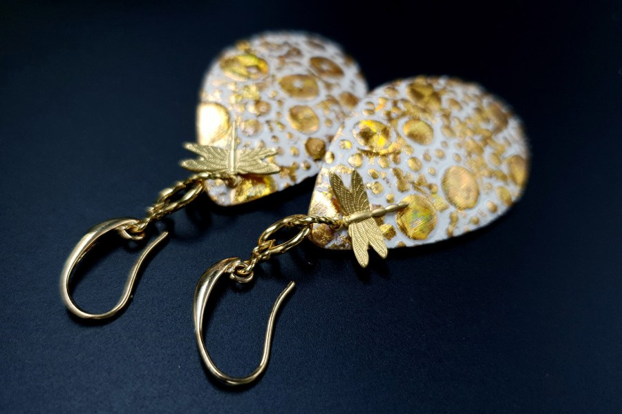 Earrings Golden Dragonfly and Sun 12