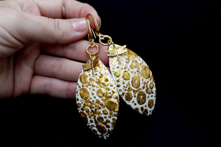 Earrings Golden Dragonfly and Sun 5