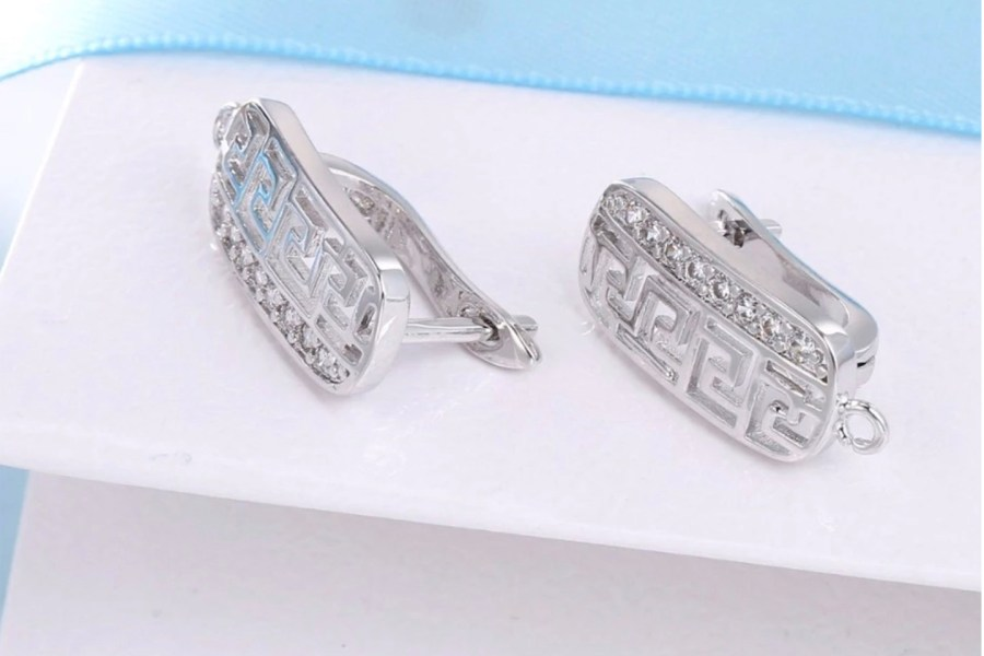 Micro Crystals Earring Findings - 2 pcs