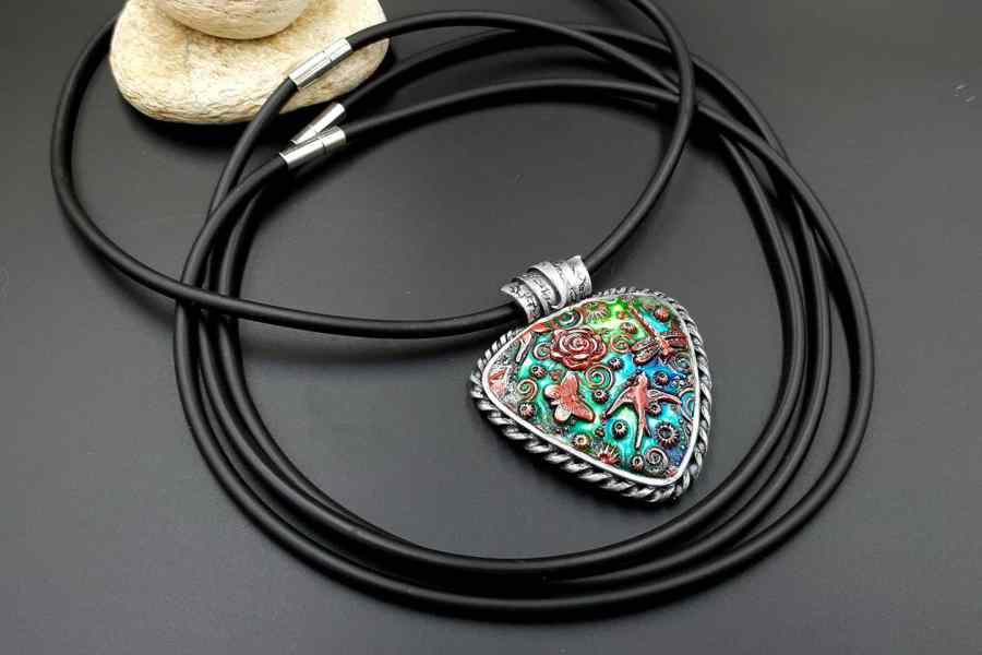 Set of 3 pcs Black Rubber Lace Choker Necklaces 9