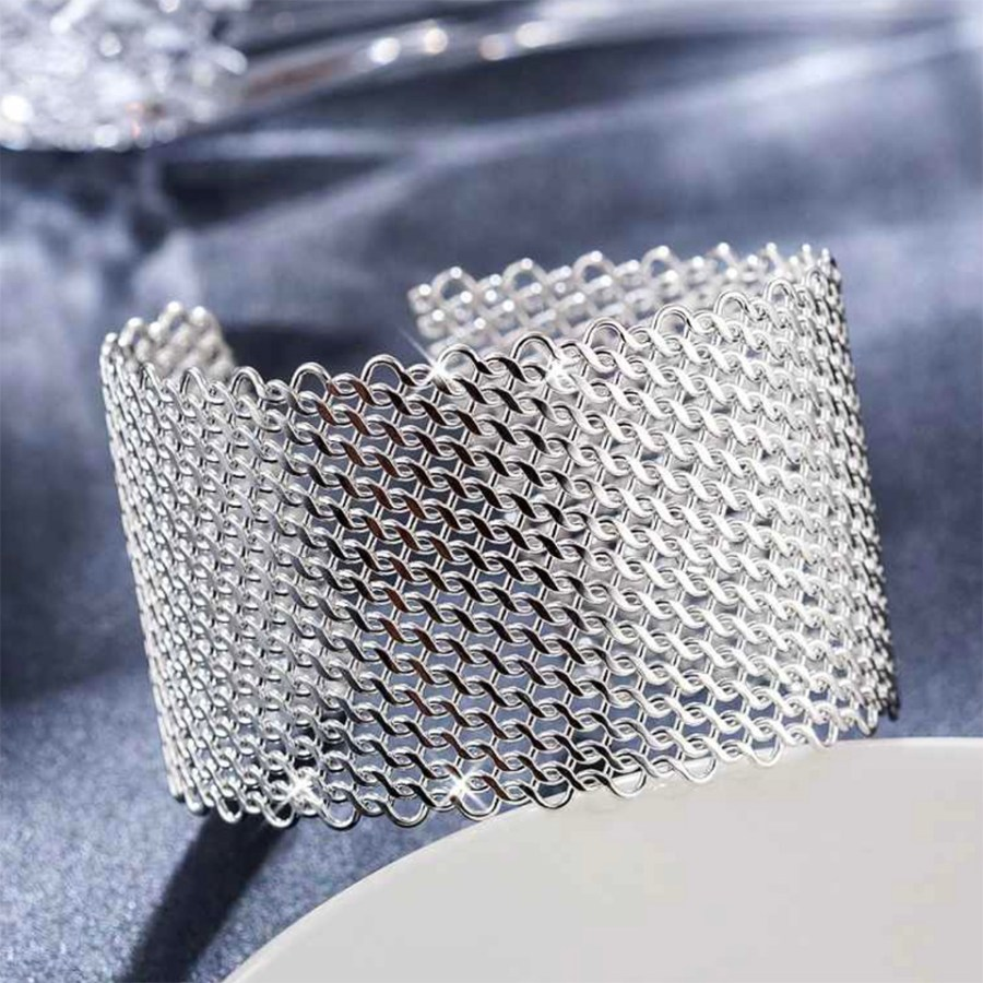 Metal silver color textured bracelets tool for baking 9