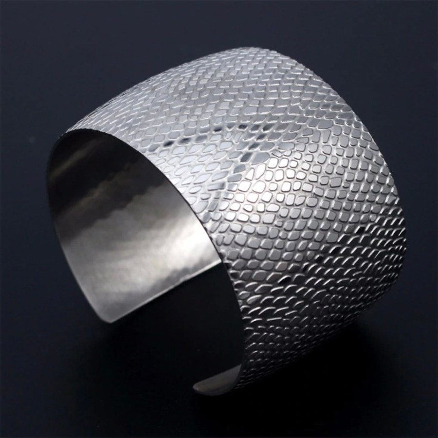 Silver color textured base for baking polymer clay bracelet 1