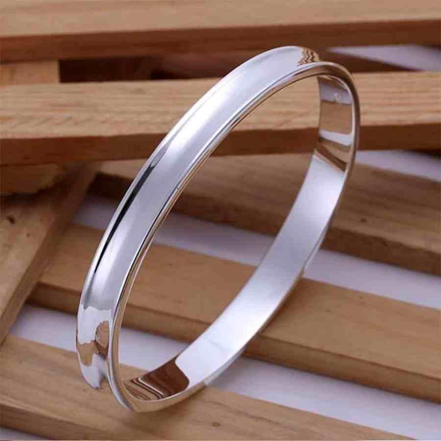 Silver plated bangle base bracelet 6.5cm 3