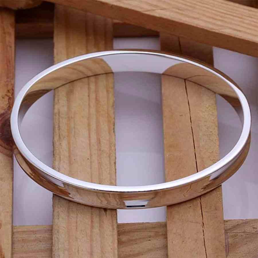 Silver plated bangle base bracelet 6.5cm 2