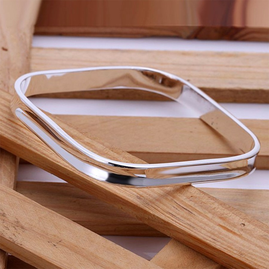 Silver plated square bangle base, Trendy Classic Bracelet 2