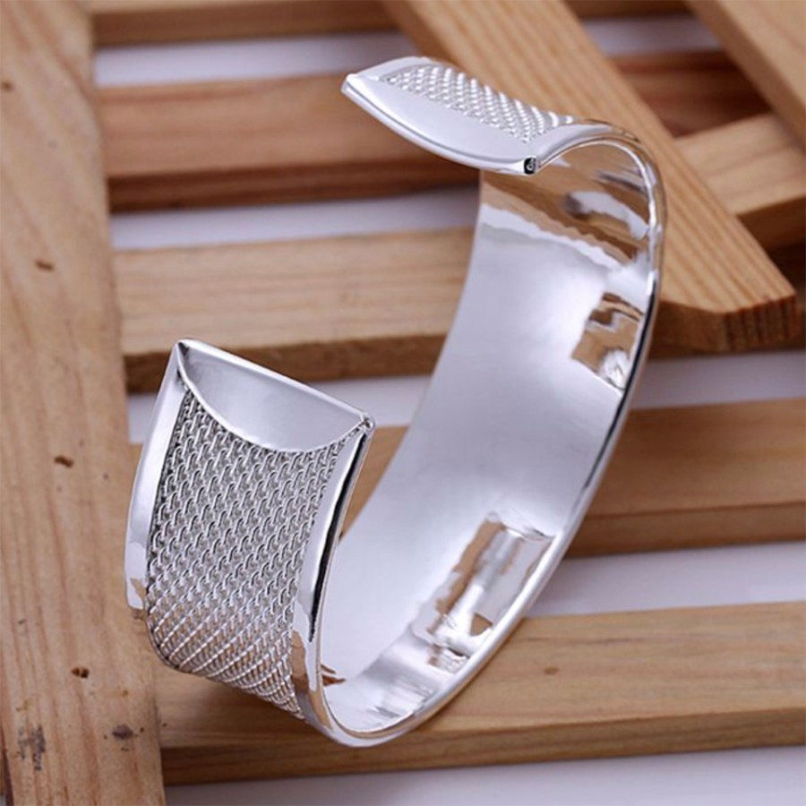 Metal silver plated wide bangle base bracelet cuff 2