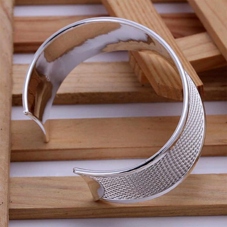 Metal silver plated wide bangle base bracelet cuff 3