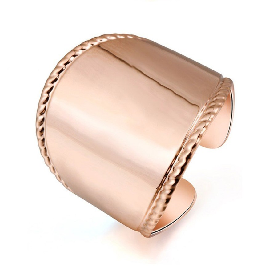 Rose gold color base wide open ring for polymer clay 1