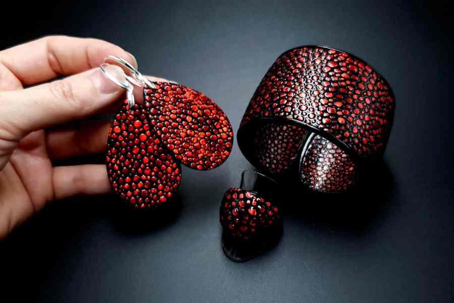 Jewelry Set Red Dragon Treasure Bracelet Ring Earrings 2