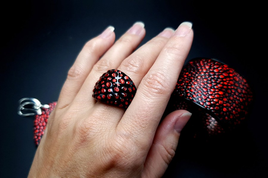 Jewelry Set Red Dragon Treasure Bracelet Ring Earrings 3