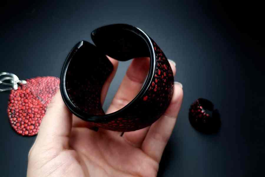 Jewelry Set Red Dragon Treasure Bracelet Ring Earrings 7