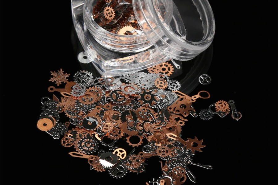 Copper and Silver Metal Micro Gear Mixed Steampunk Watch Parts 1