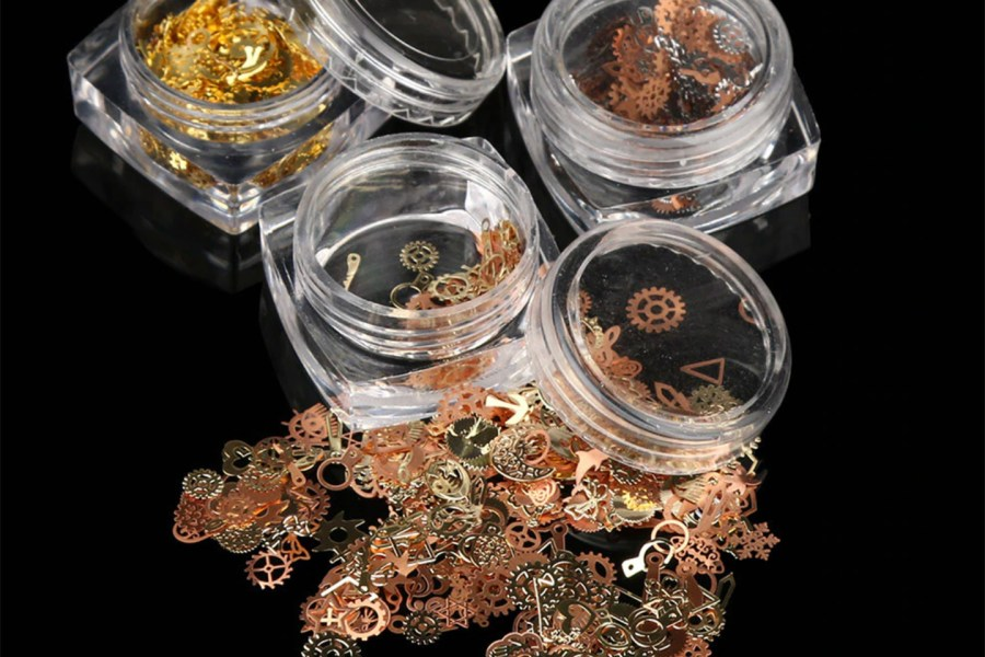 Copper and Gold Metal Micro Gear Mixed Steampunk Watch Parts 4