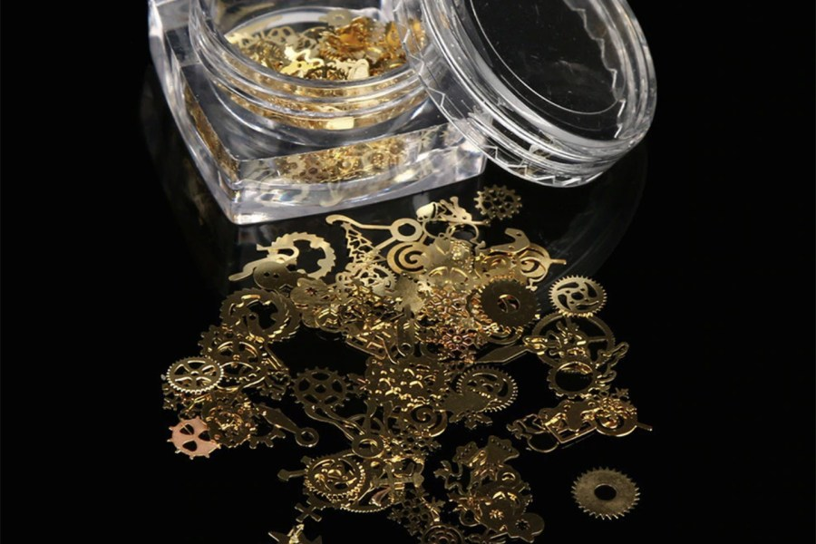 Gold Metal Micro Gear Mixed Steampunk Watch Parts 1