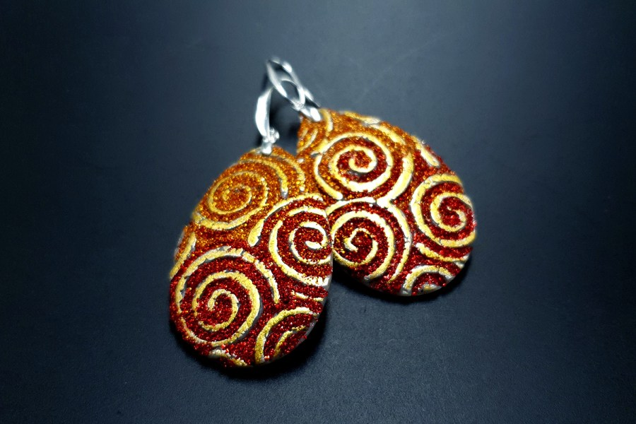 Golden Red Earrings 1
