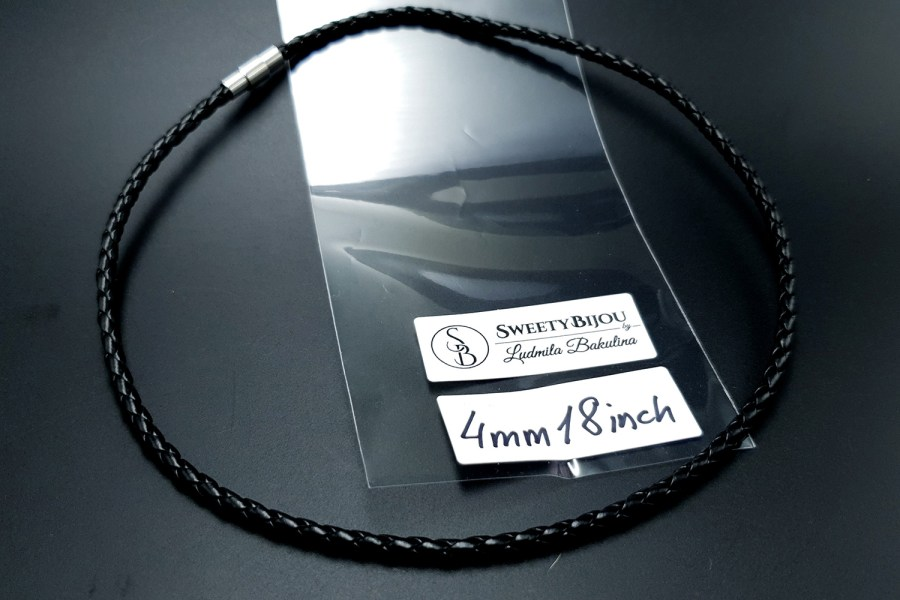 Black Leather Cord, 18inches/45cm 2