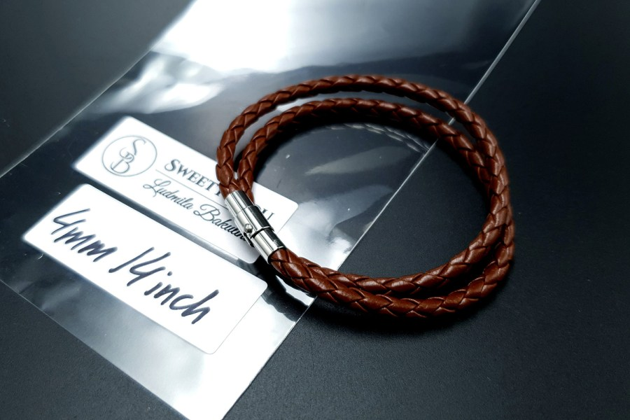 Brown Leather Cord, 14inches/35cm 2