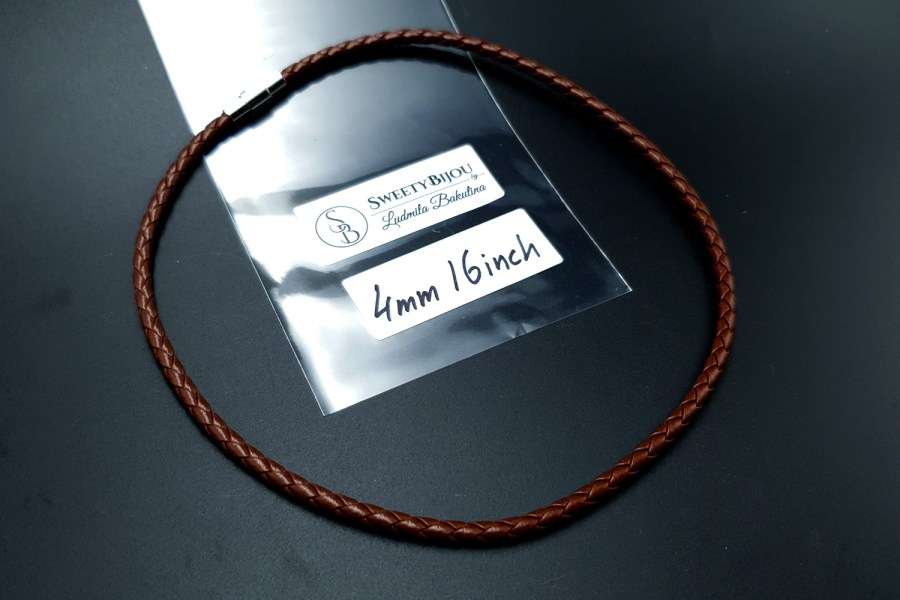 Brown Leather Cord, 16inches/40cm 4