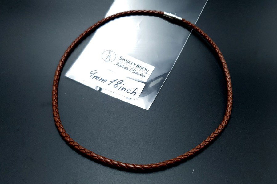 Brown Leather Cord, 18inches/45cm 1
