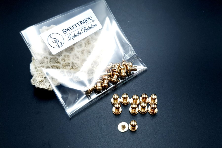 Gold Closers Screw Nail Rivet, 10pcs 6