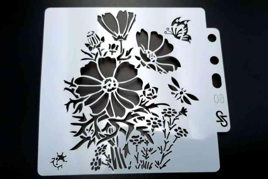 """Set of 4 pcs """"Floral"""" Plastic Stencils 10"""