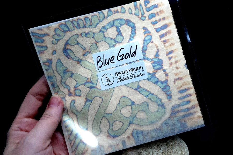 Blue-Gold Copper Metal Leafs (10pcs 14x14cm) 6
