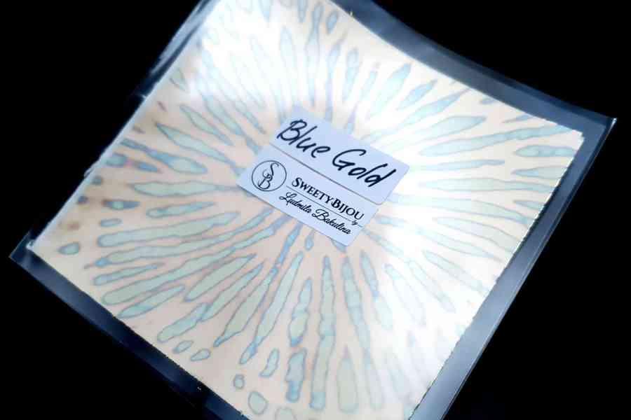 Blue-Golden Copper Metal Leafs (10pcs 14x14cm) 2