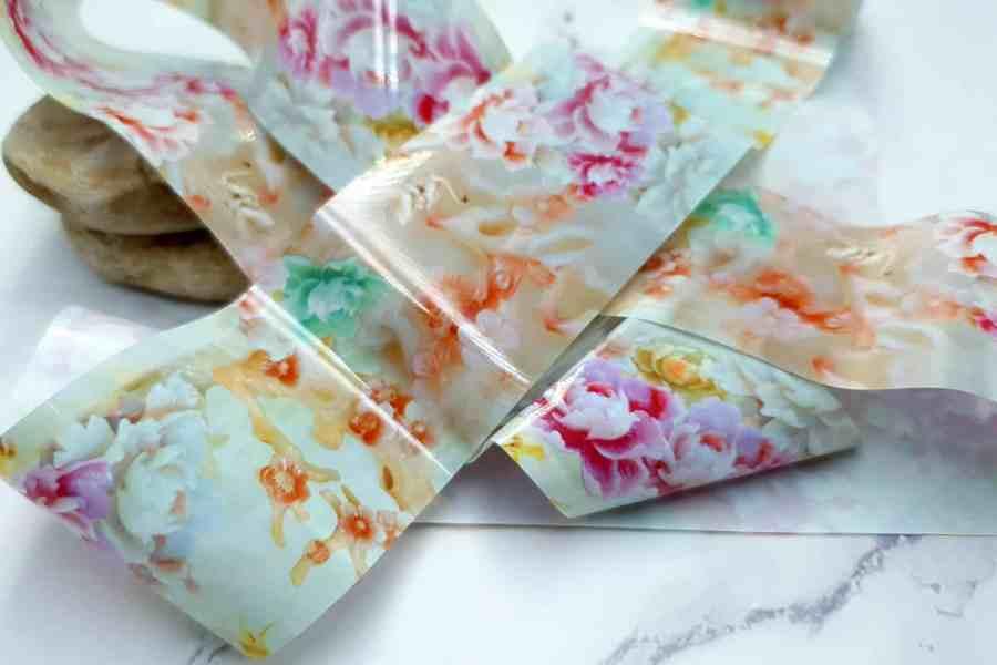 Peonies Flowers Pattern - Transfer Foil pattern 1 pc - 4x100cm 3