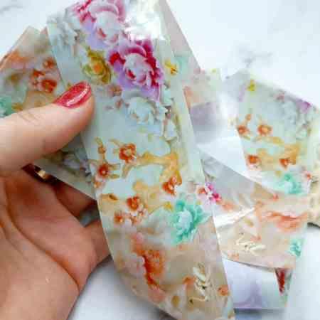 Peonies flowers pattern, transfer foil