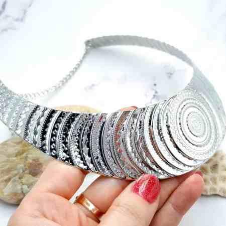 "Necklace Metal Base ""Circles"" Pattern – Silver, 14cm"