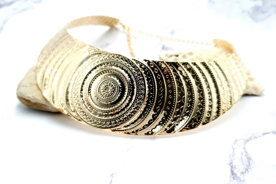 "Necklace Metal Base ""Circles"" Pattern - Gold, 14cm 2"