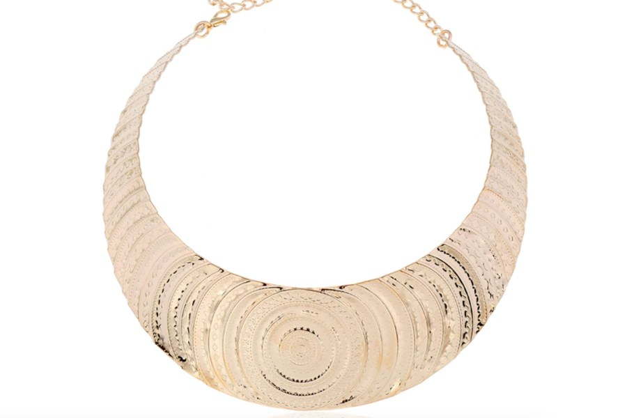 "Necklace Metal Base ""Circles"" Pattern - Gold, 14cm 7"