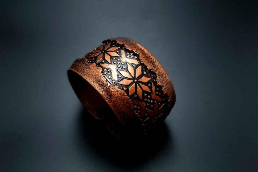 """Winter Folklore"" Polymer clay bracelet"