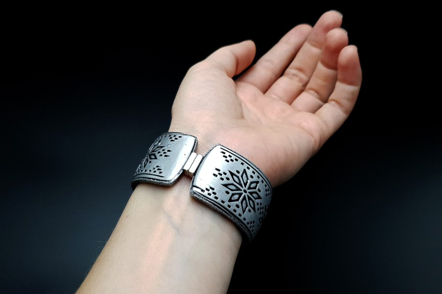"""Silver Winter"" Polymer clay bracelet 8"